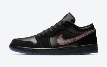 Air Jordan 1 Low Black Red Orbit Black Blue Shoes CK3022-006