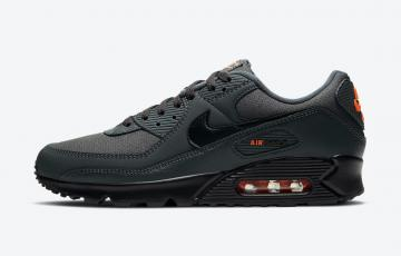 Nike Air Max 90 Iron Grey Orange Black Running Shoes DC4116-001