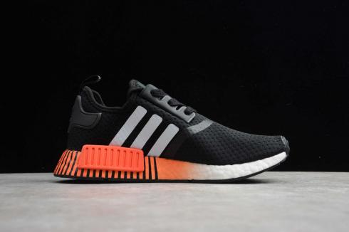 Adidas NMD R1 Black White Orange Running Shoes FV3658
