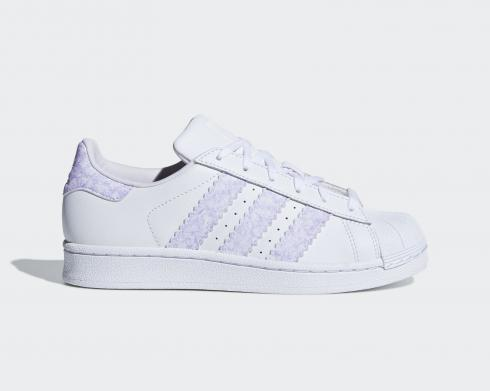 Adidas Originals Superstar J Cloud White Purple Shoes CG6612