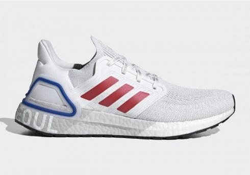 Adidas UltraBoost 20 City Pack Seoul White Glory Red Team Royal Blue FX7813