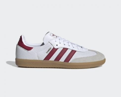Adidas Samba OG Cloud White Collegiate Burgundy Grey One BD7528