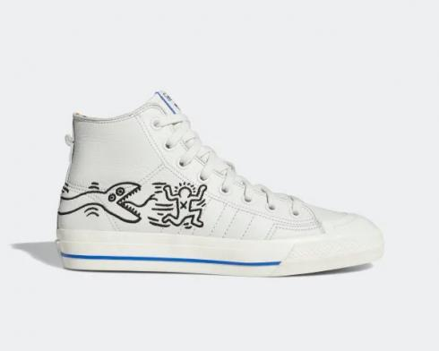 Keith Haring x Adidas Original Nizza High RF Pop Art Blue Chalk White EE9297