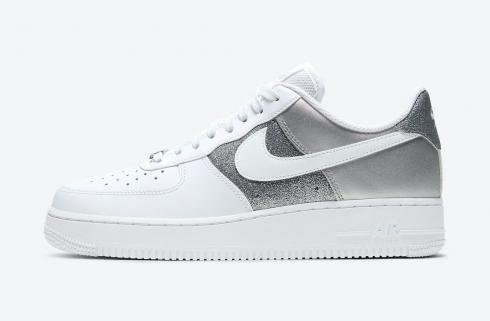 Nike Air Force 1 07 Low White Grey Metallic Silver Shoes DD6629-100