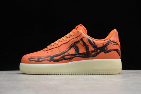 Nike Air Force 1'07 Skeleton QS Orange Black Running Shoes CU8067-800