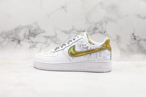 Nike Air Force 1 Low Upstep White Grey Metallic Gold Shoes AQ6602-255