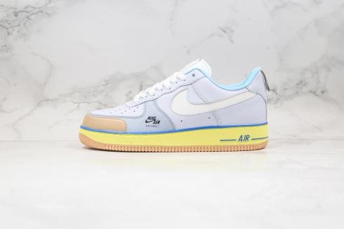Nike Air Force 1 Premium Blue Pot Cookies Yellow Brown Shoes CV3039-102
