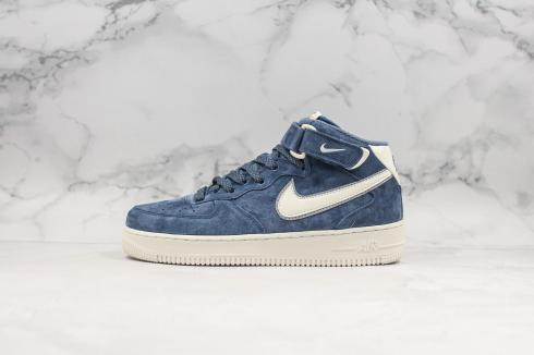 Nike Air Force 1 Mid Suede Navy Blue White Shoes AA1118-007