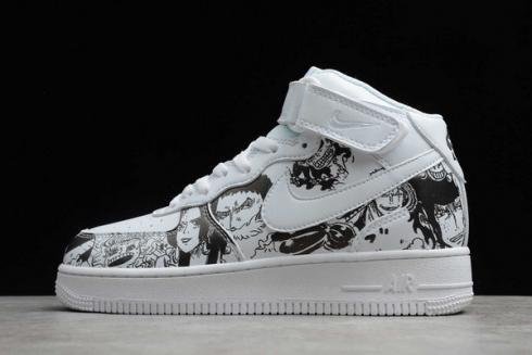 Nike Air Force 1 Mid White Black Basketball Shoes AQ8020-100