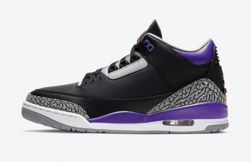 Air Jordan 3 Retro Court Purple Black Cement Grey White CT8532-050