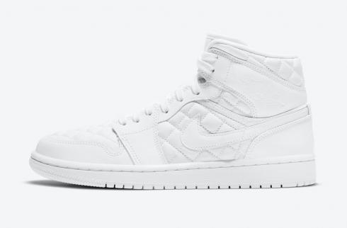 Wmns Air Jordan 1 Mid Triple White Quilted Basketball Shoes DB6078-100