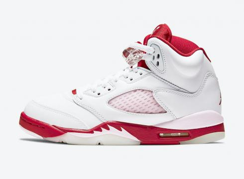 Air Jordan 5 Retro GS White Pink Foam Gym Red Shoes 440892-106