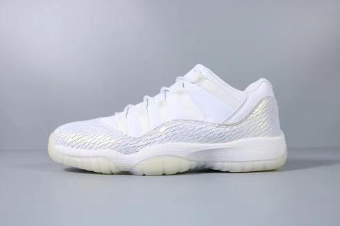 Air Jordan 11 Low GS White Silver Basketball Shoes 597331-100