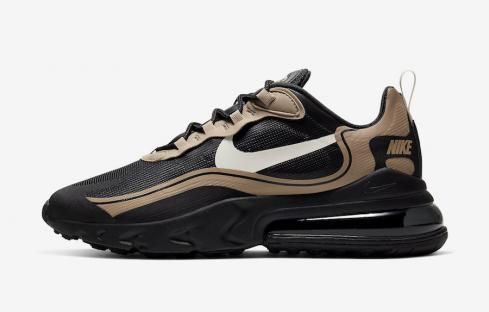 Nike Air Max 270 React Black Metallic Gold Running Shoes CV1632-001