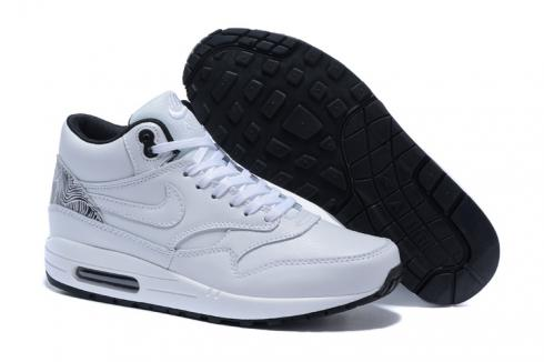 Nike Air Max 1 Mid Pure White Black Men Running Shoes Lifestyle ...