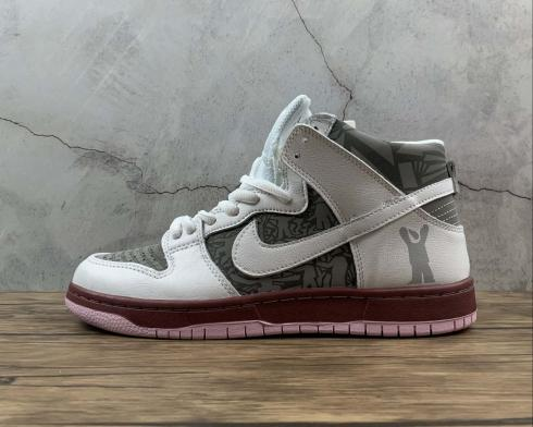 Nike SB Dunk High Pro White Black Pink Running Shoes 304592-001