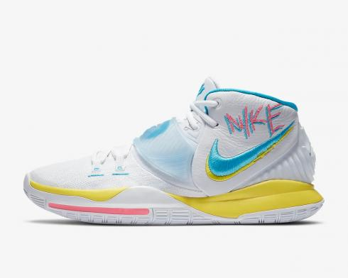 Nike Zoom Kyrie 6 EP Neon Graffiti White Blue Fury Opti Yellow BQ4631-101
