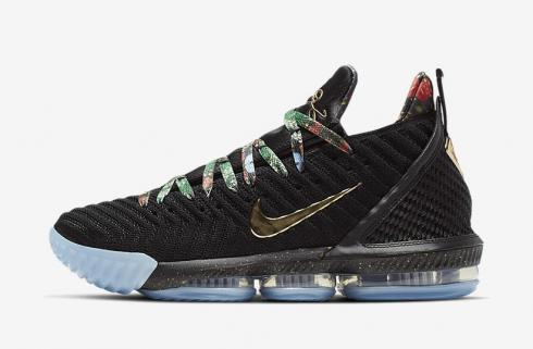 Nike Zoom Lebron 16 Black Metallic Gold Rose Frost Shoes CI1517-001